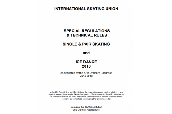 ISU Special Regulations and Technical Rules 2018, Singles, Pairs and Ice Dance